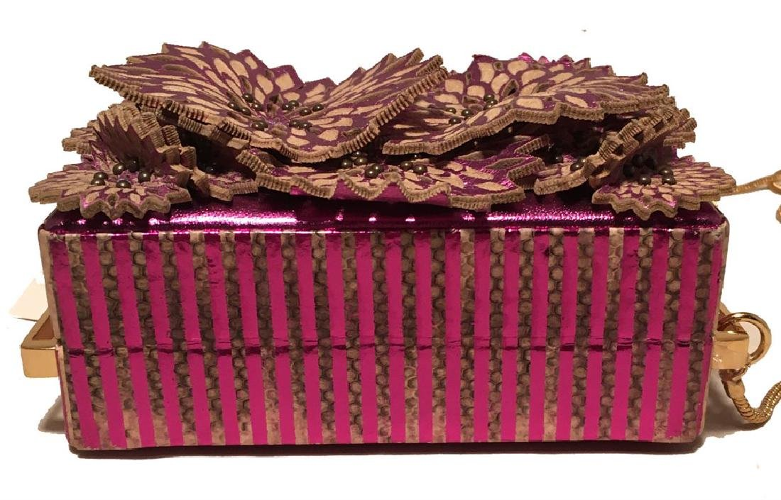 Tanya Hawkes Purple Floral Leather Cut Out Box Evening - 4