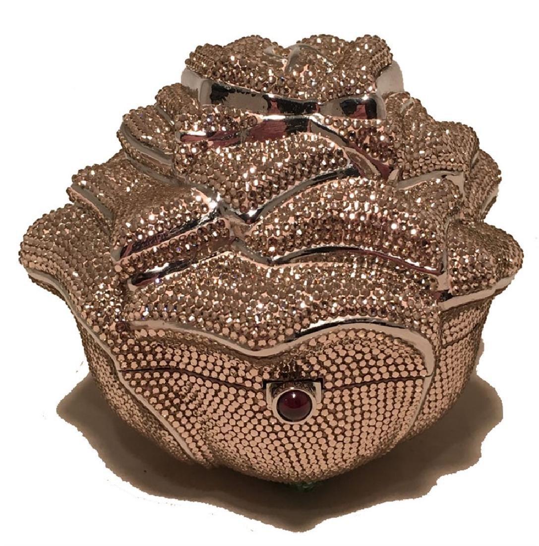 Judith Leiber Pink Swarovski Crystal Rose Minaudiere