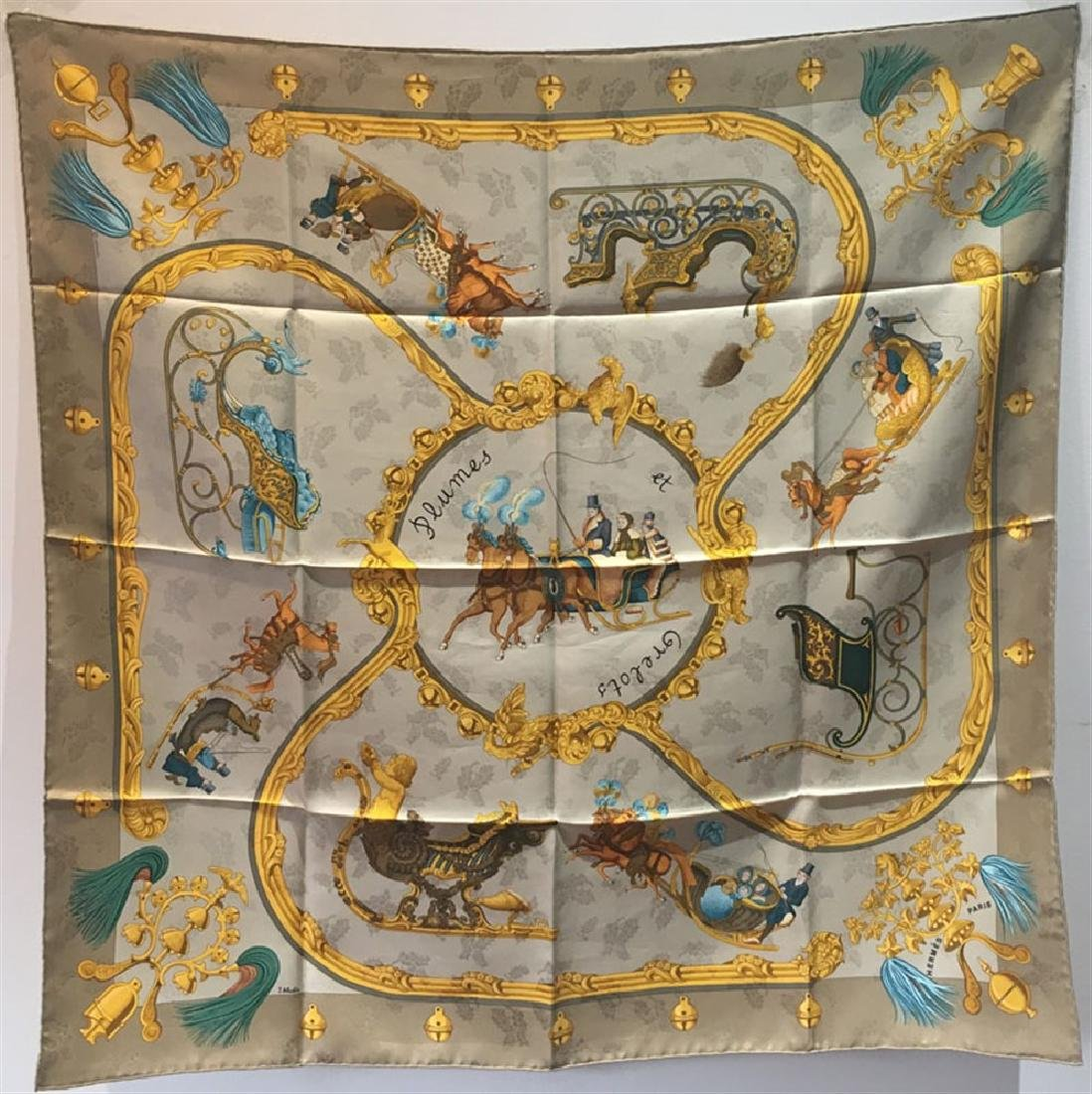 Hermes Vintage Plumes et Grelots silk scarf c1995