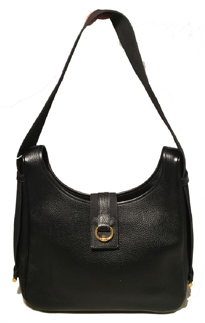 Hermes Vintage Black Leather Shoulder Bag