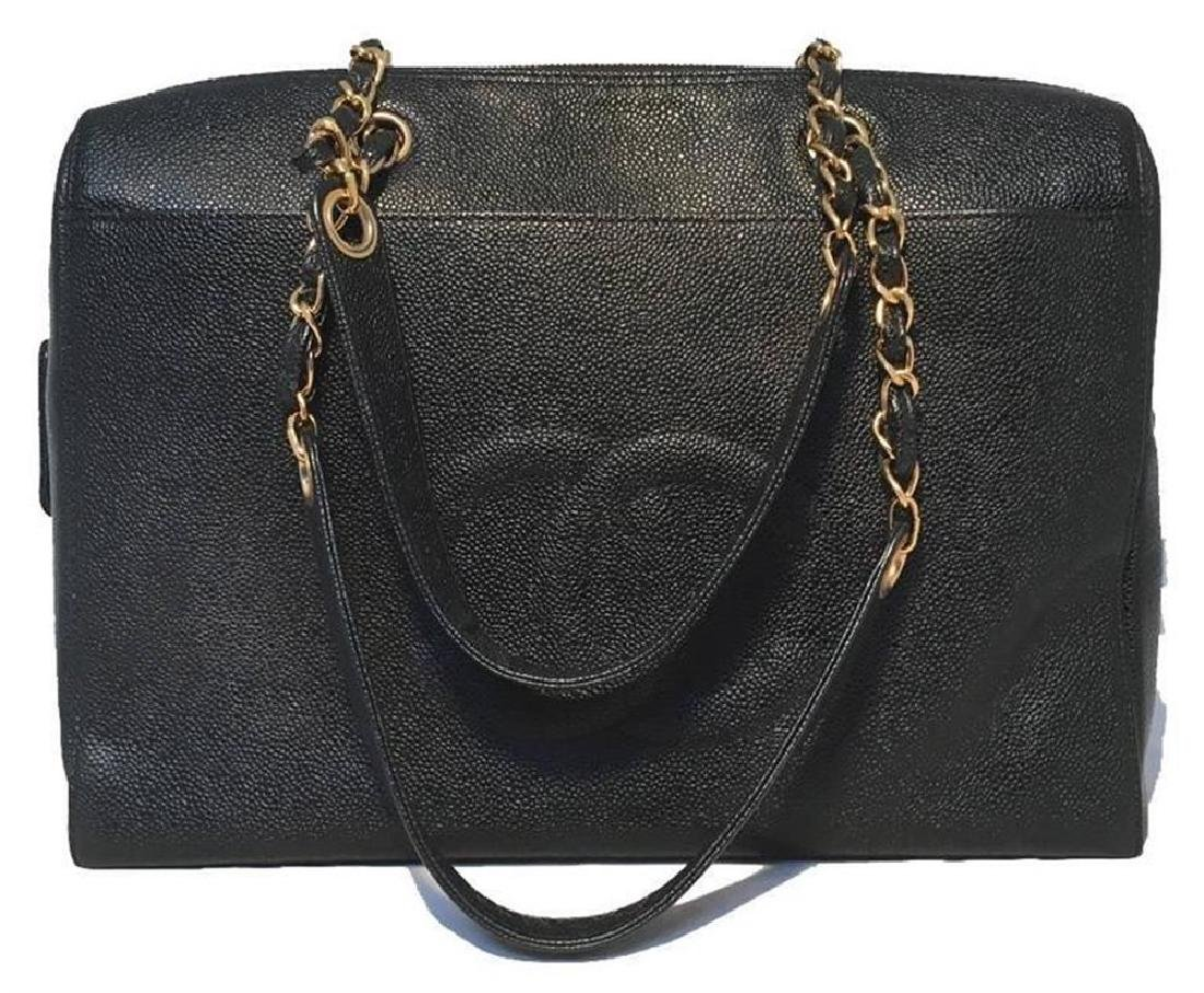 Chanel Black Caviar Leather Shoulder Bag Tote