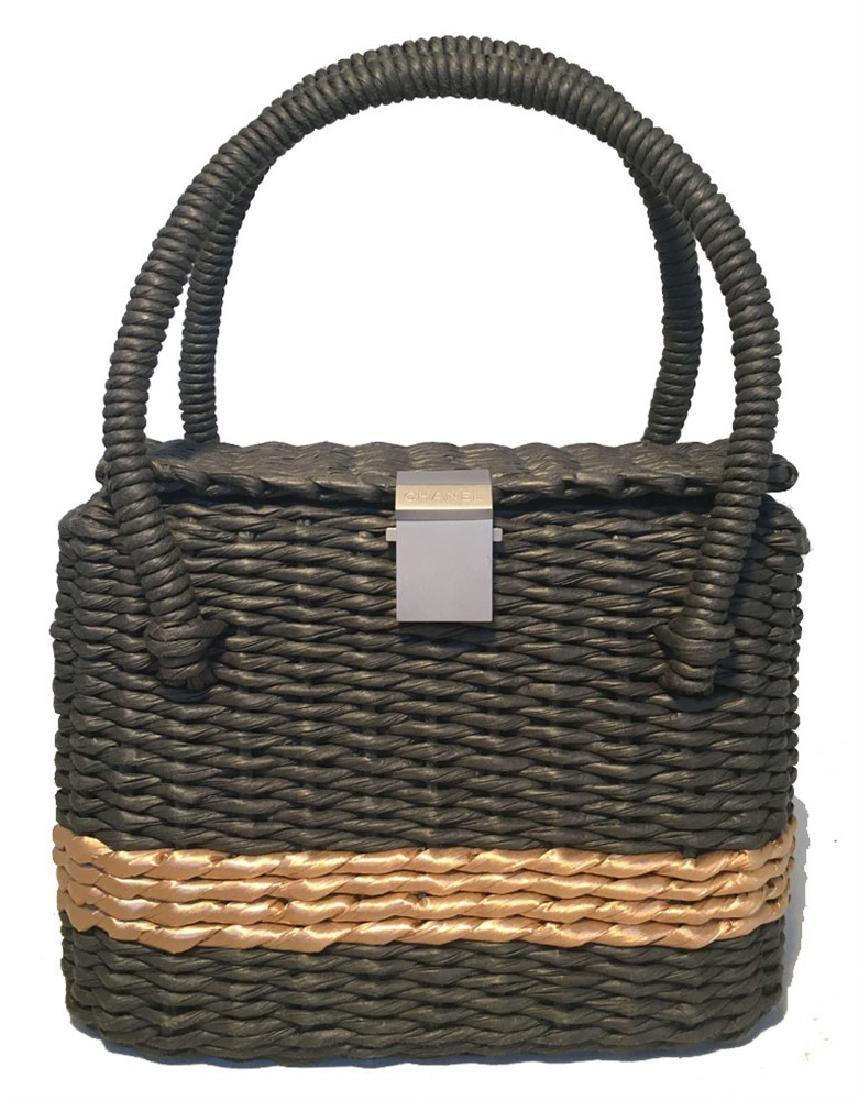 Chanel Charcoal and Tan Wicker Rattan Basket Handbag