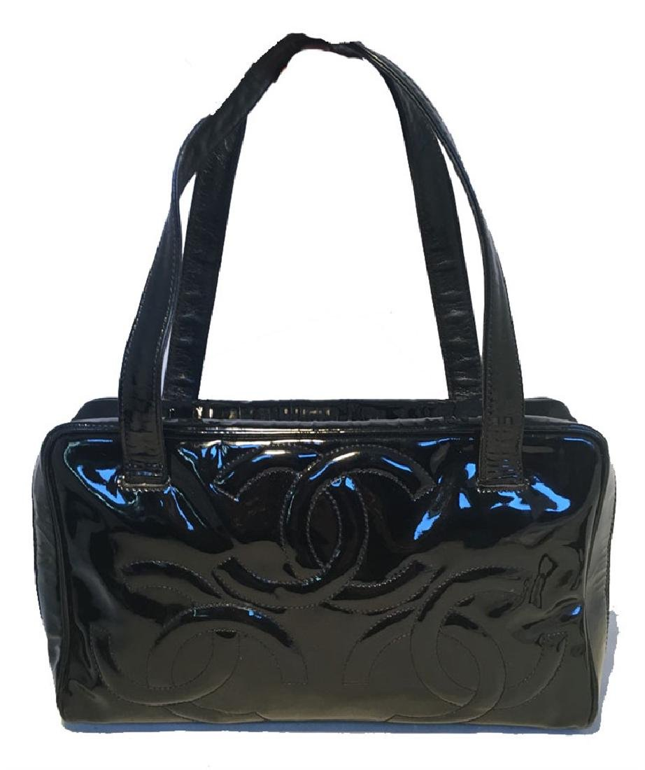 Chanel Black Patent Leather Quilted CC Logo Handbag