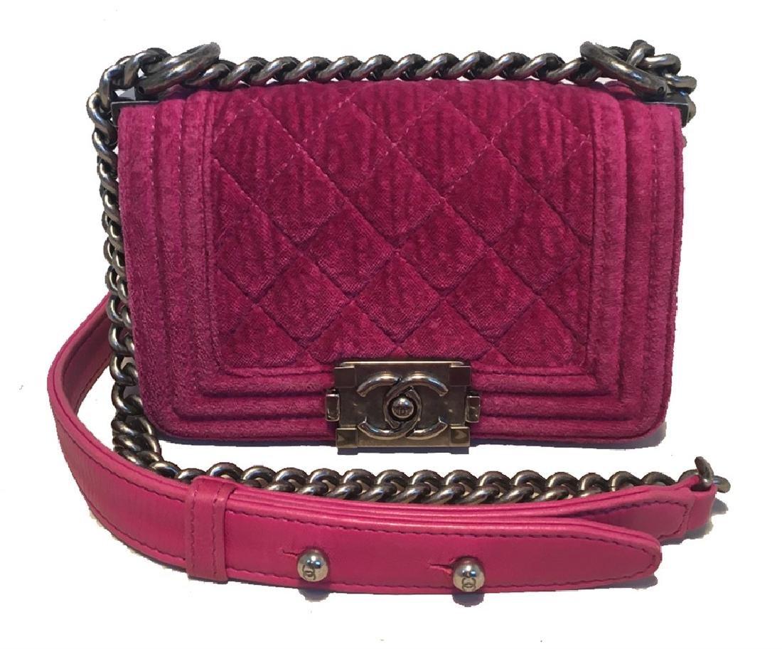 Chanel Magenta Velvet Extra Mini Classic Le Boy Flap