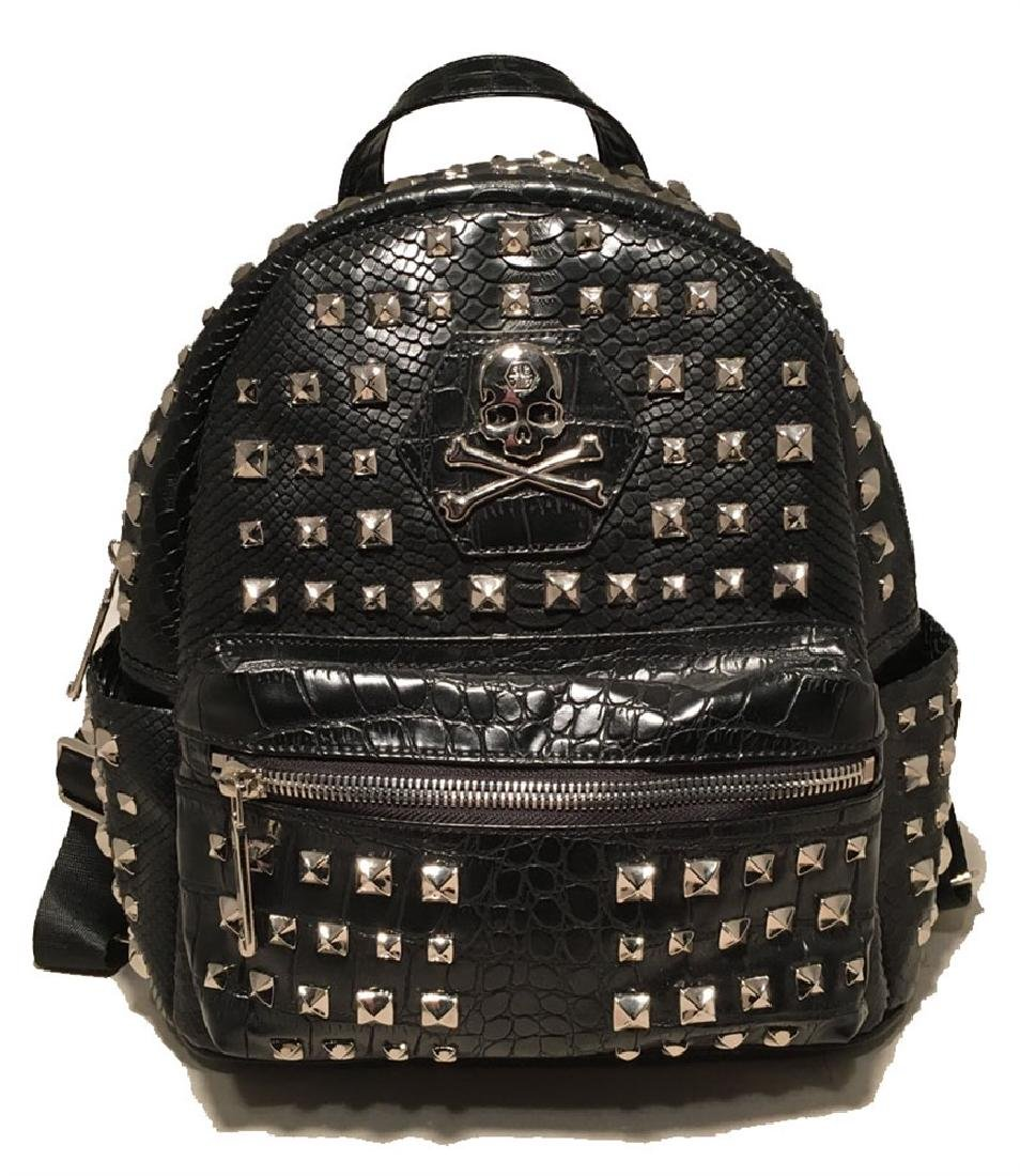 Philip Plein Black Snakeskin Studded Leather Backpack