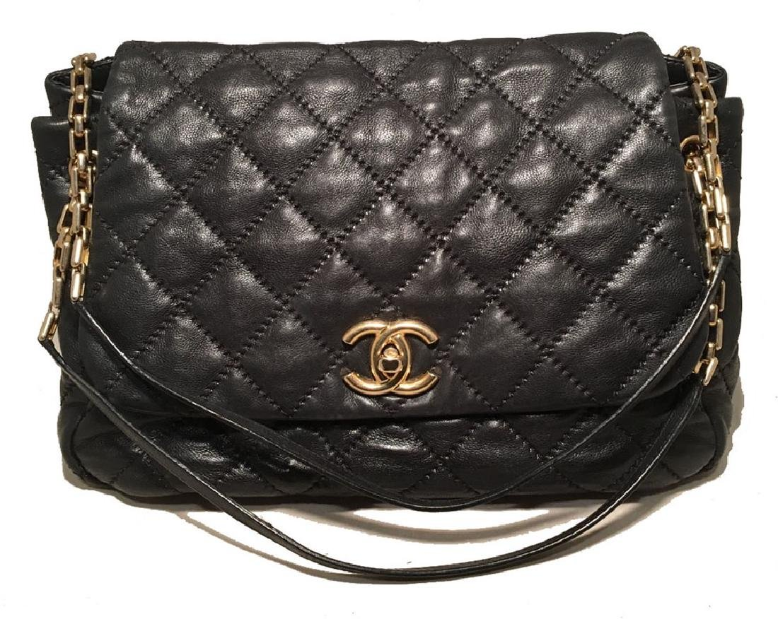 Chanel Quilted Black Distressed Leather Large Classic