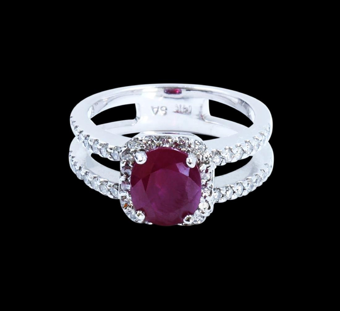2.22CT NATURAL RUBY 14K WHITE GOLD RING