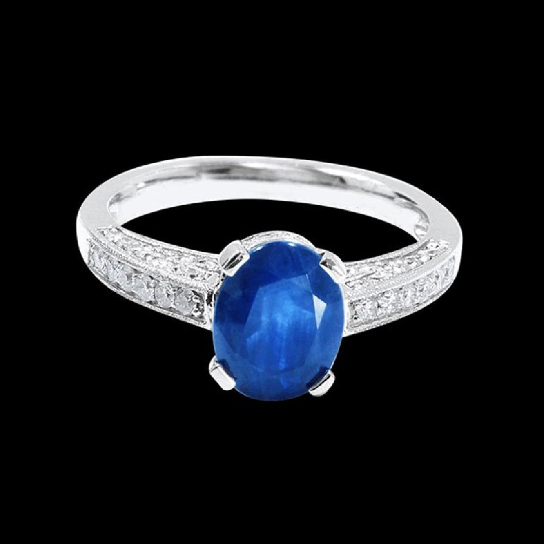 2.37CT NATURAL CEYLON BLUE SAPPHIRE 14K WHITE GOLD RING