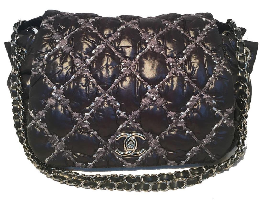 Chanel Puffy Black Nylon Raincoat Classic Flap Shoulder