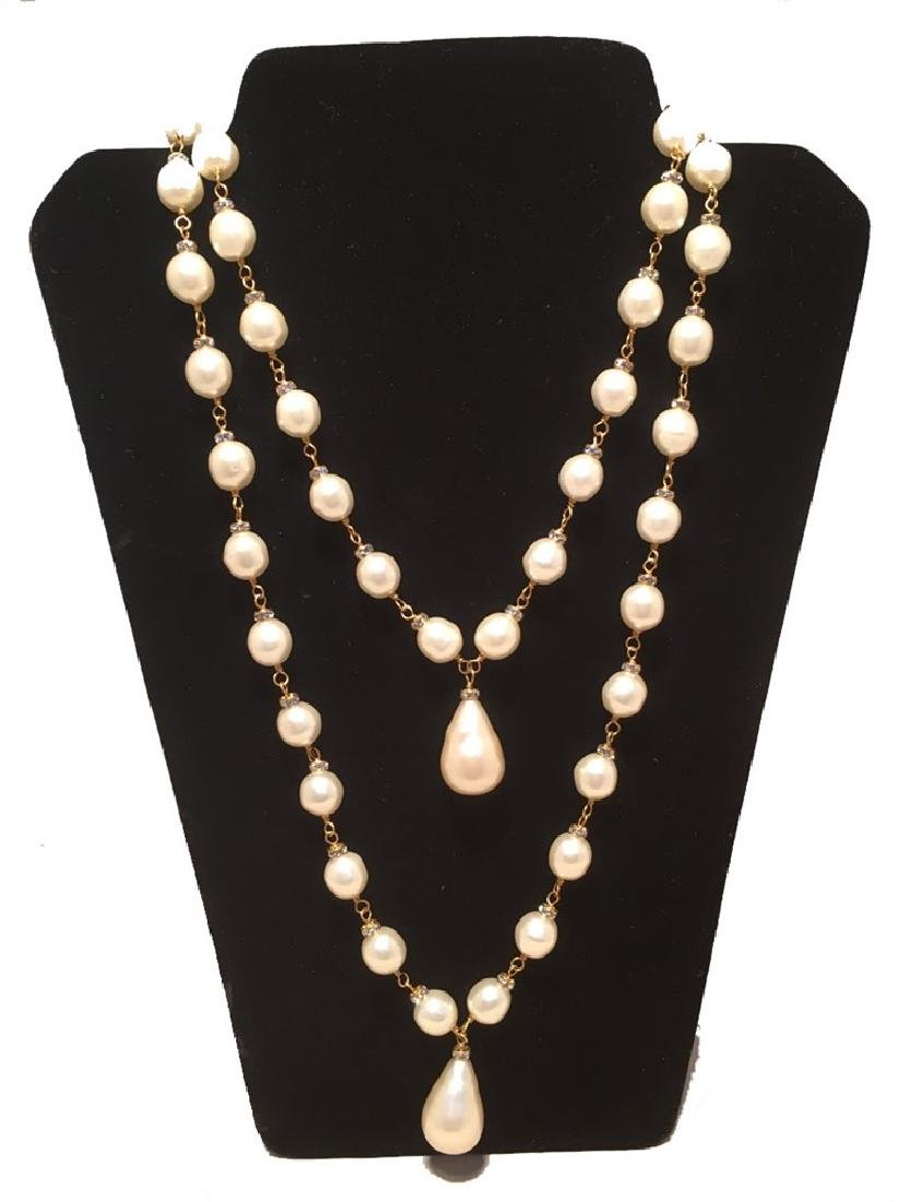 RARE Chanel Vintage Double Strand Pearl and Crystal