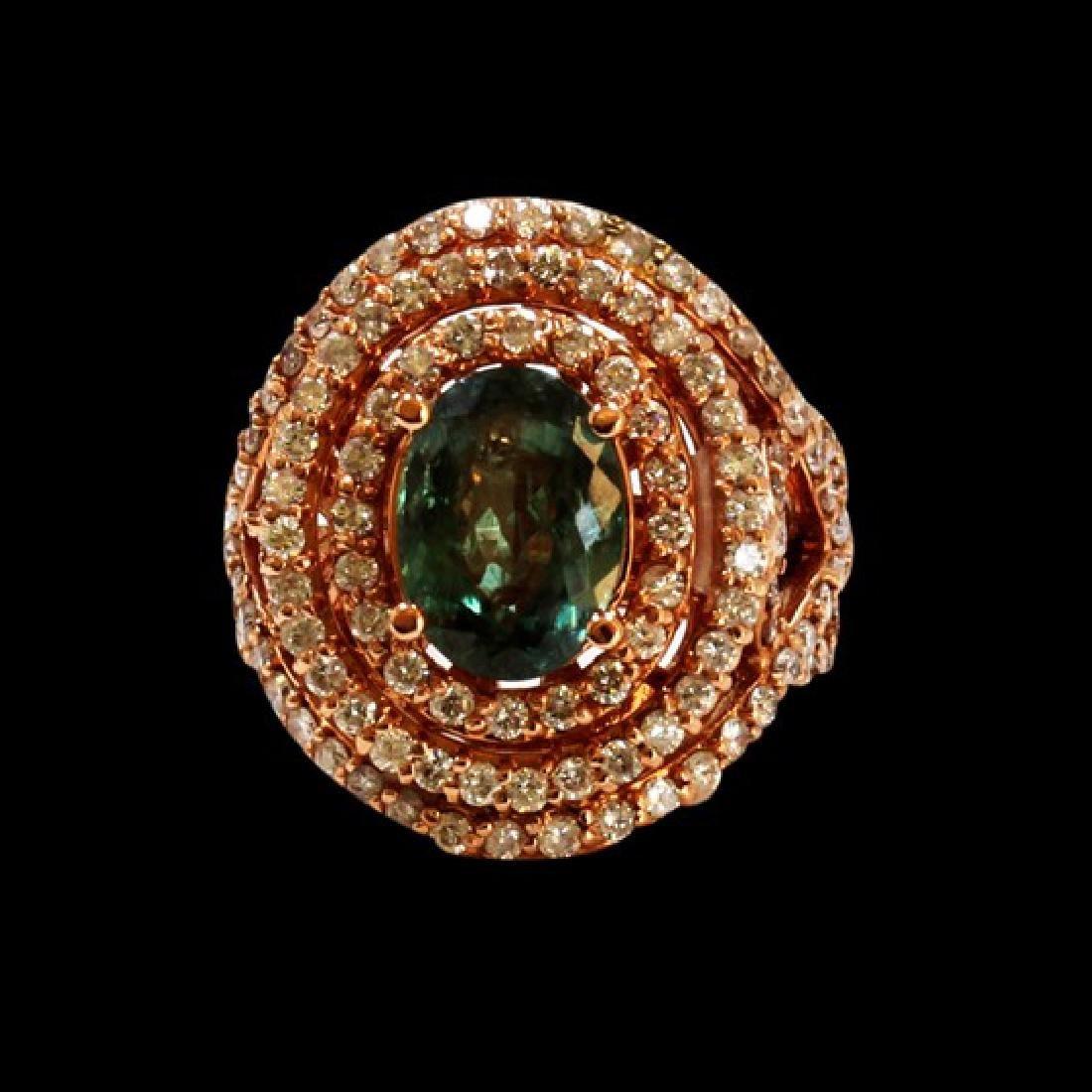 3.73CT NATURAL ALEXANDRITE 14K ROSE GOLD  RING