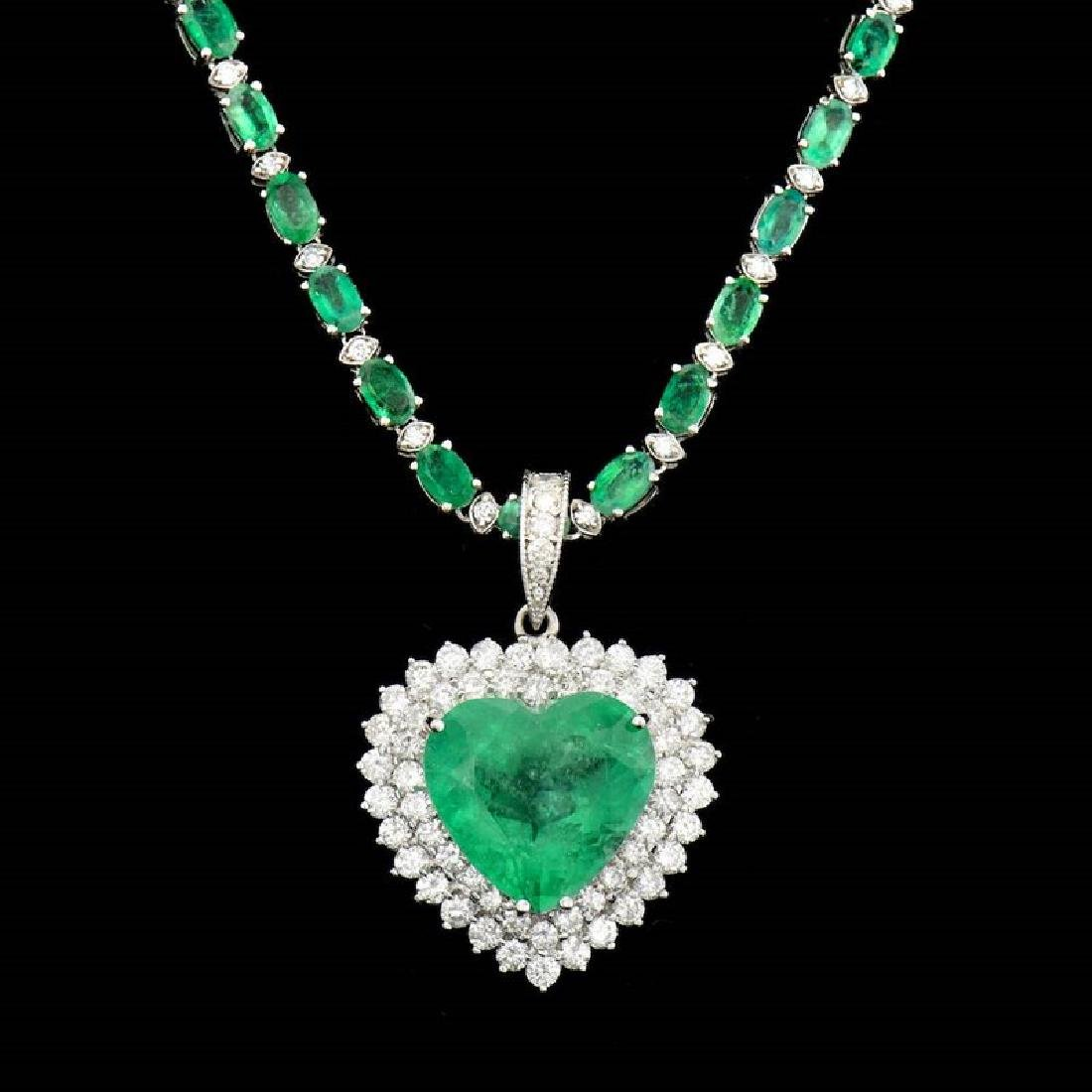 13.75CT NATURAL COLOMBIAN EMERALD 18K W/G PENDANT AND