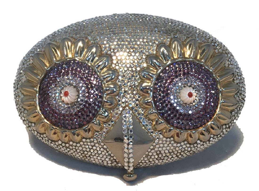Judith Leiber Swarovski Crystal Owl Head Minaudiere