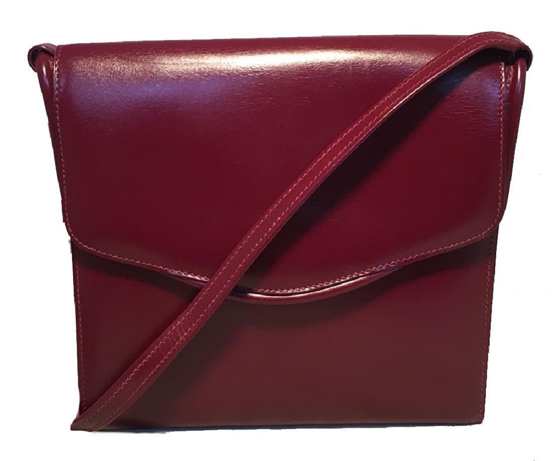 Hermes Vintage Dark Red Box Calf Shoulder Bag