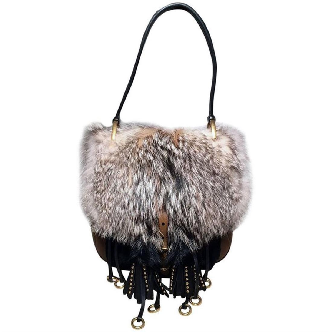 NWOT Prada Fox Fur and Tan Leather Shoulder Bag