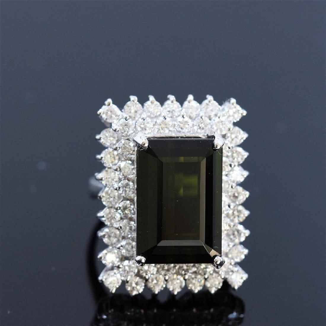 11.37ct Natural Green Tourmaline 14K White Gold Ring