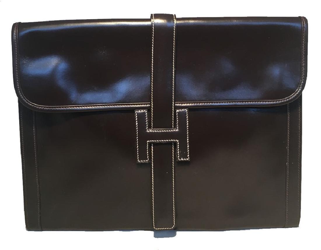 Hermes Vintage Brown Box Calf Leather Jige Clutch