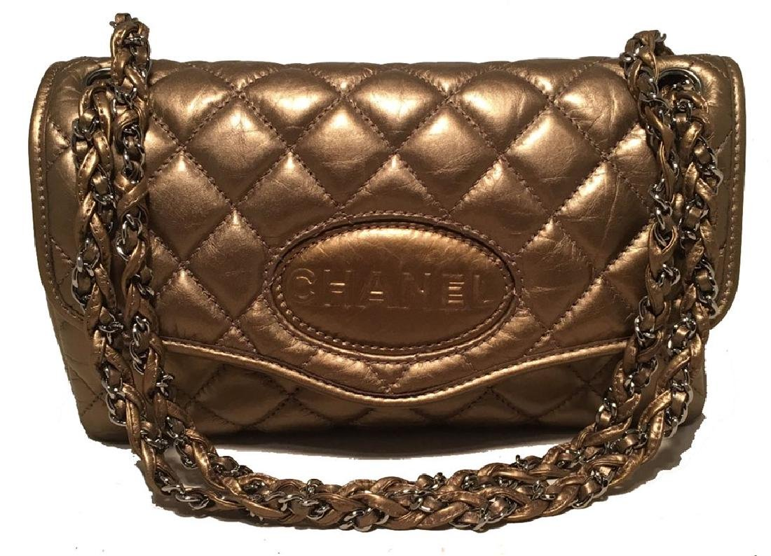 Chanel Quilted Bonze Leather Classic Flap Shoulder Bag