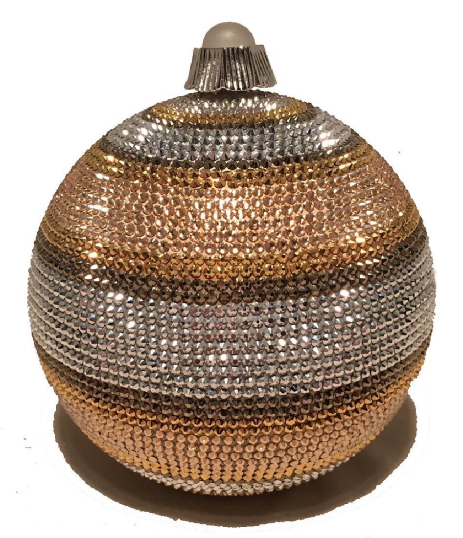 Judith Leiber Swarovski Crystal Striped Ball Minaudiere