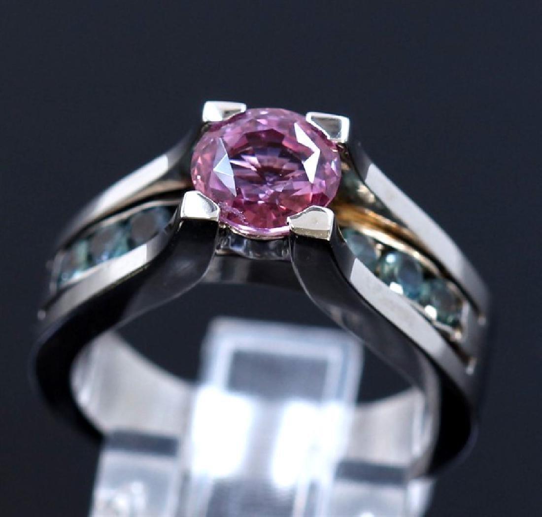 1.69ct Pink Sapphire / 0.63ct Alexandrite 14K White