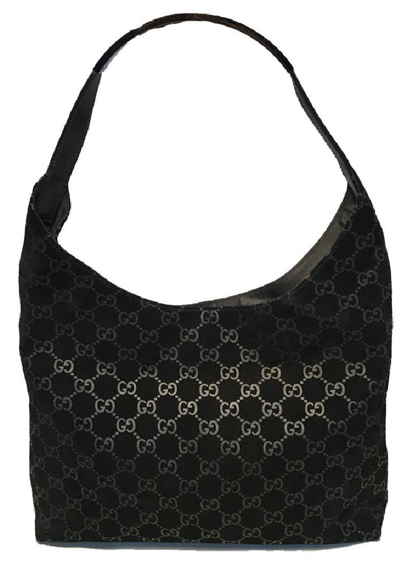 Gucci Black Suede Monogram Hobo Shoulder Bag