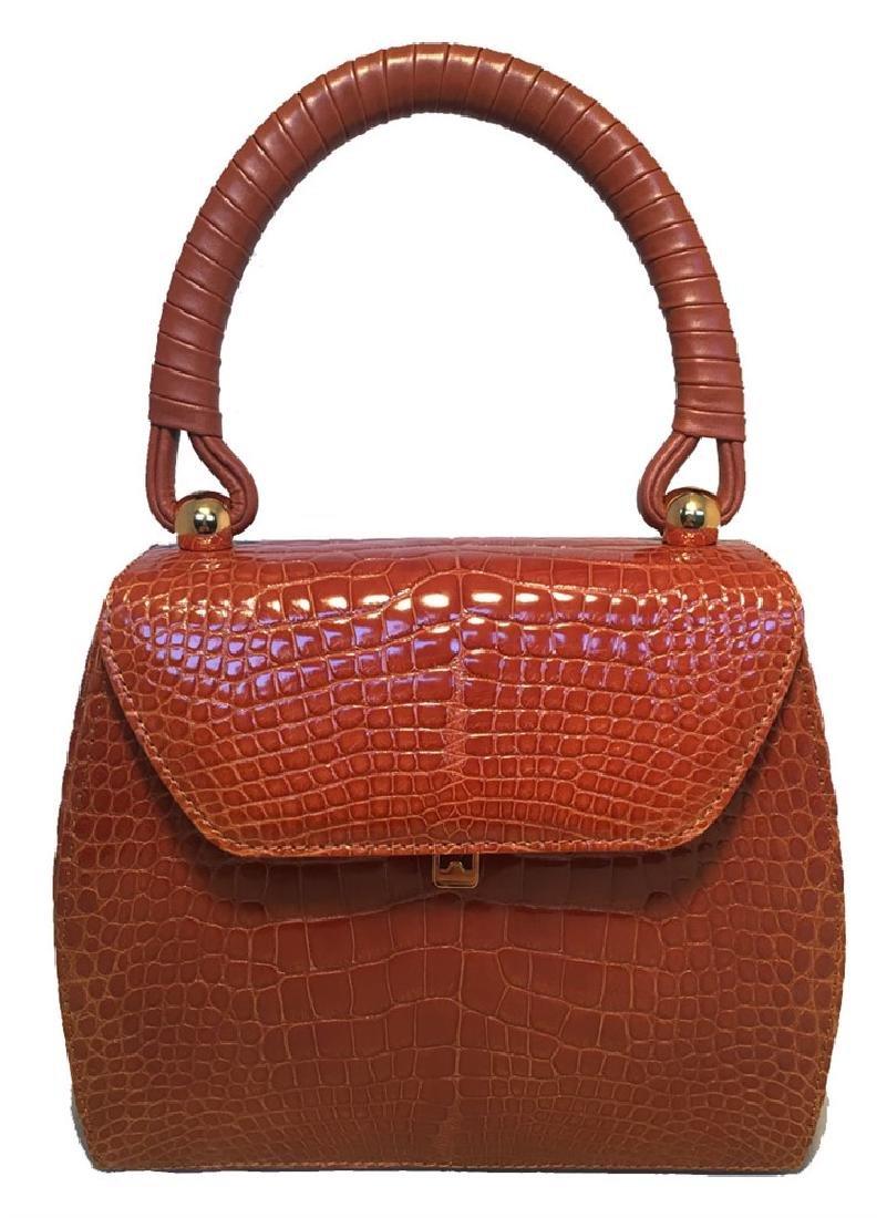 Maxima for Contessa Anna Vintage Tan Alligator Handbag