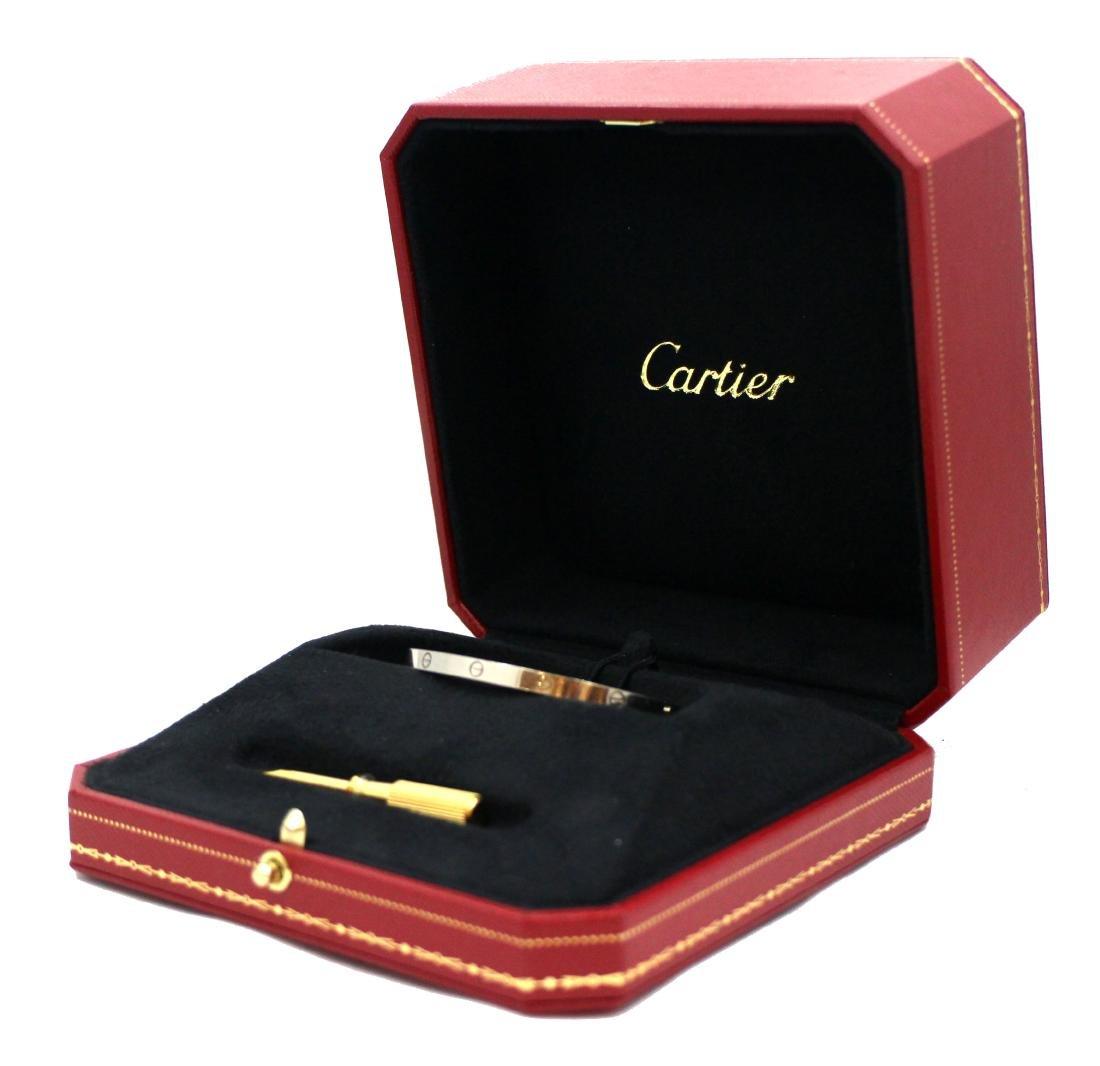 Cartier 18K White Gold Love Bracelet, SM Size 15