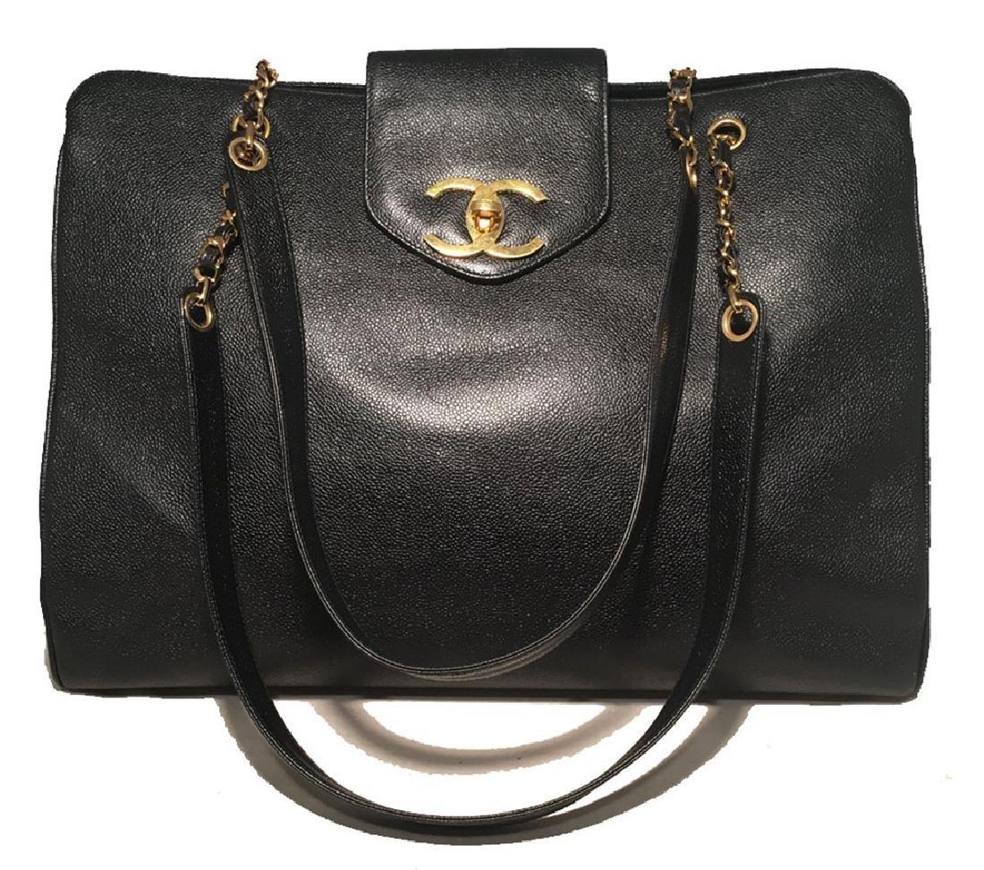 Chanel Vintage Black Caviar Leather Model Overnighter