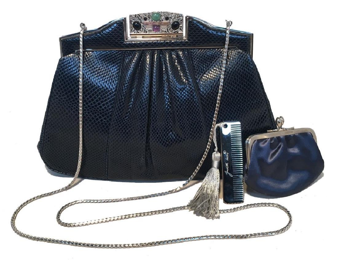 Judith Leiber Vintage Navy Blue Lizard Clutch