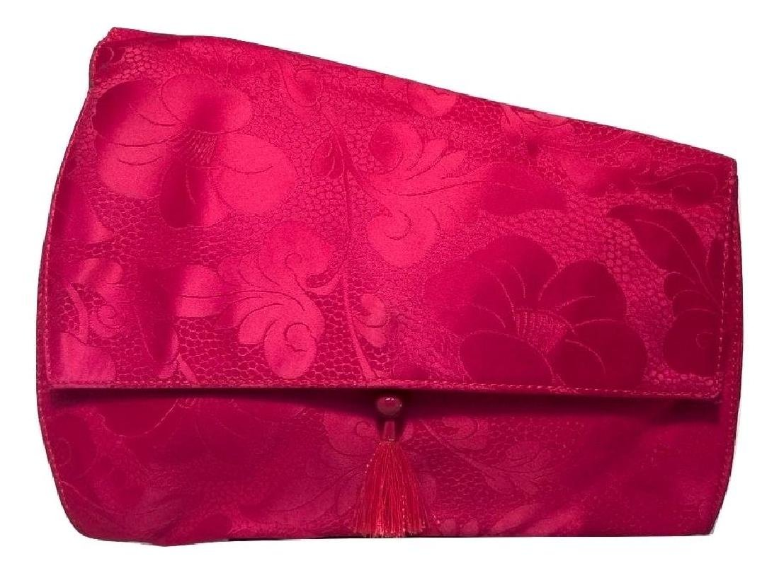 Versace Red Silk Floral Print Abstract Clutch