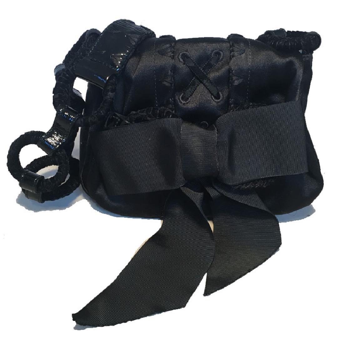 Yves Saint Laurent YSL Black Silk Satin Ribbon Bow