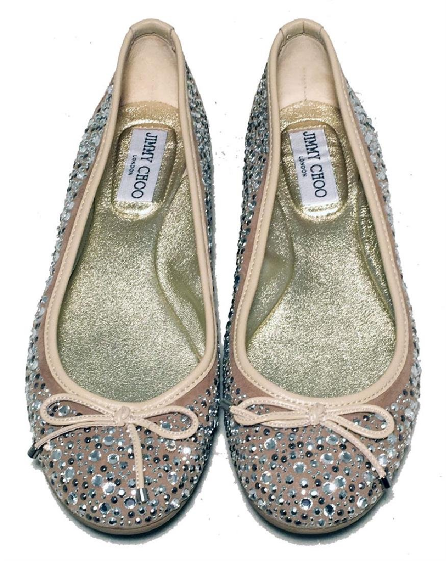 Jimmy Choo Nude and Gold Crystal Studded Ballet Flats