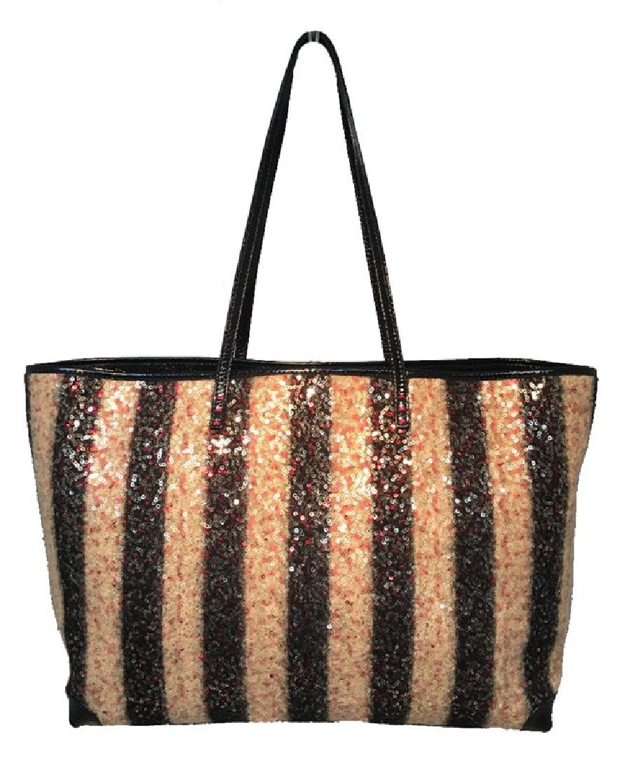 Limited Edition Fendi Striped Wool Sequin Shopper Tote