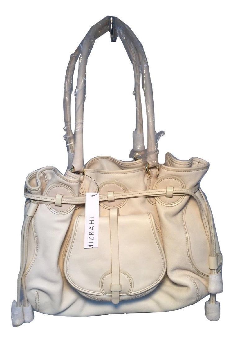 Isaac Mizrahi White Leather Shoulder Bag