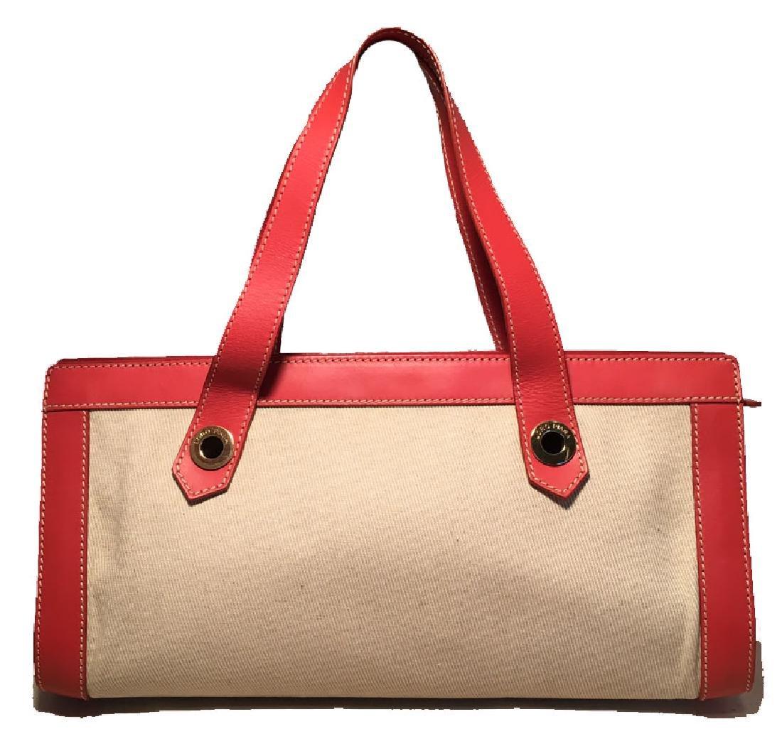 Loro Piana Tan Canvas and Orange Leather Handbag