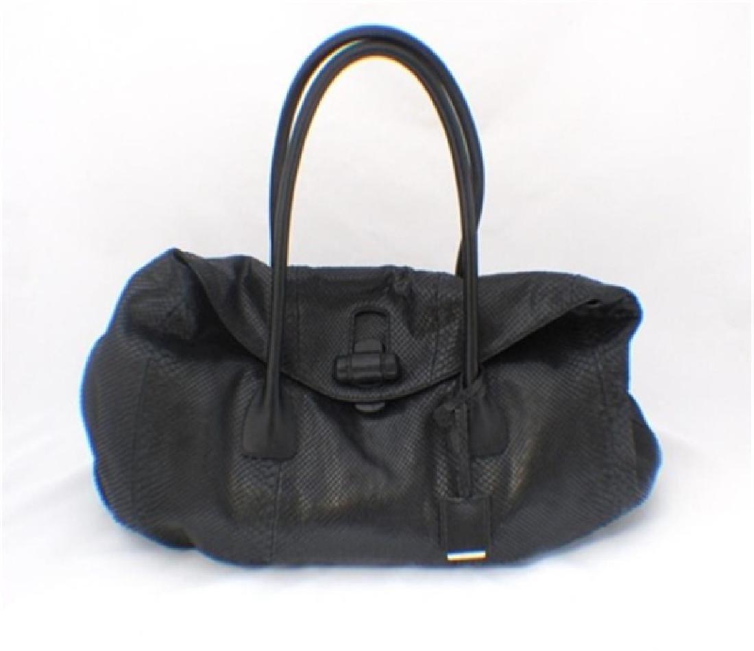 Jill Sander Black Python Shoulder Bag