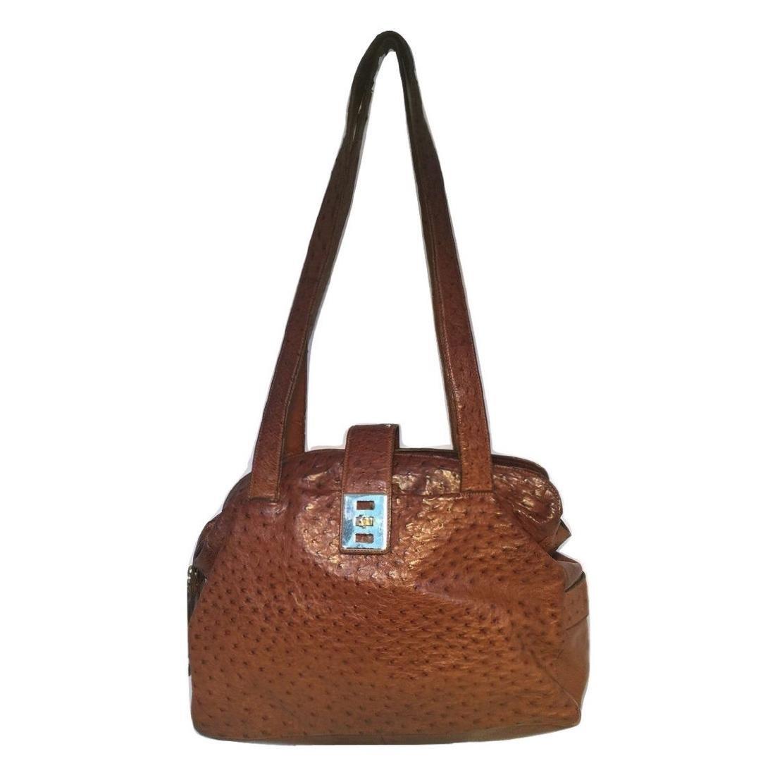Mauro Governa Brown Ostrich Leather Shoulder Bag