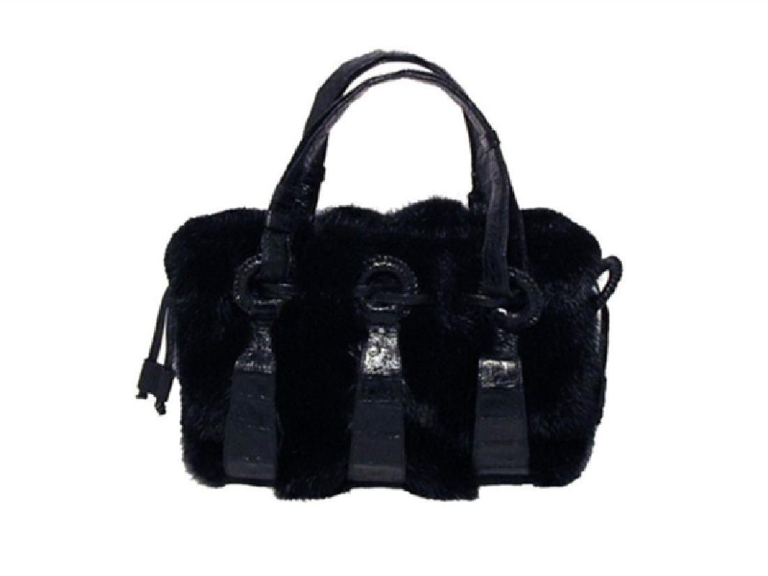 Nancy Gonzalez Black Mink & Crocodile Handbag