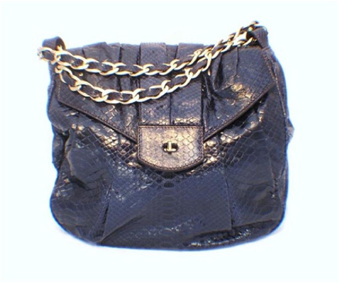Zagliani Handmade Navy Blue Snakeskin Shoulder Bag