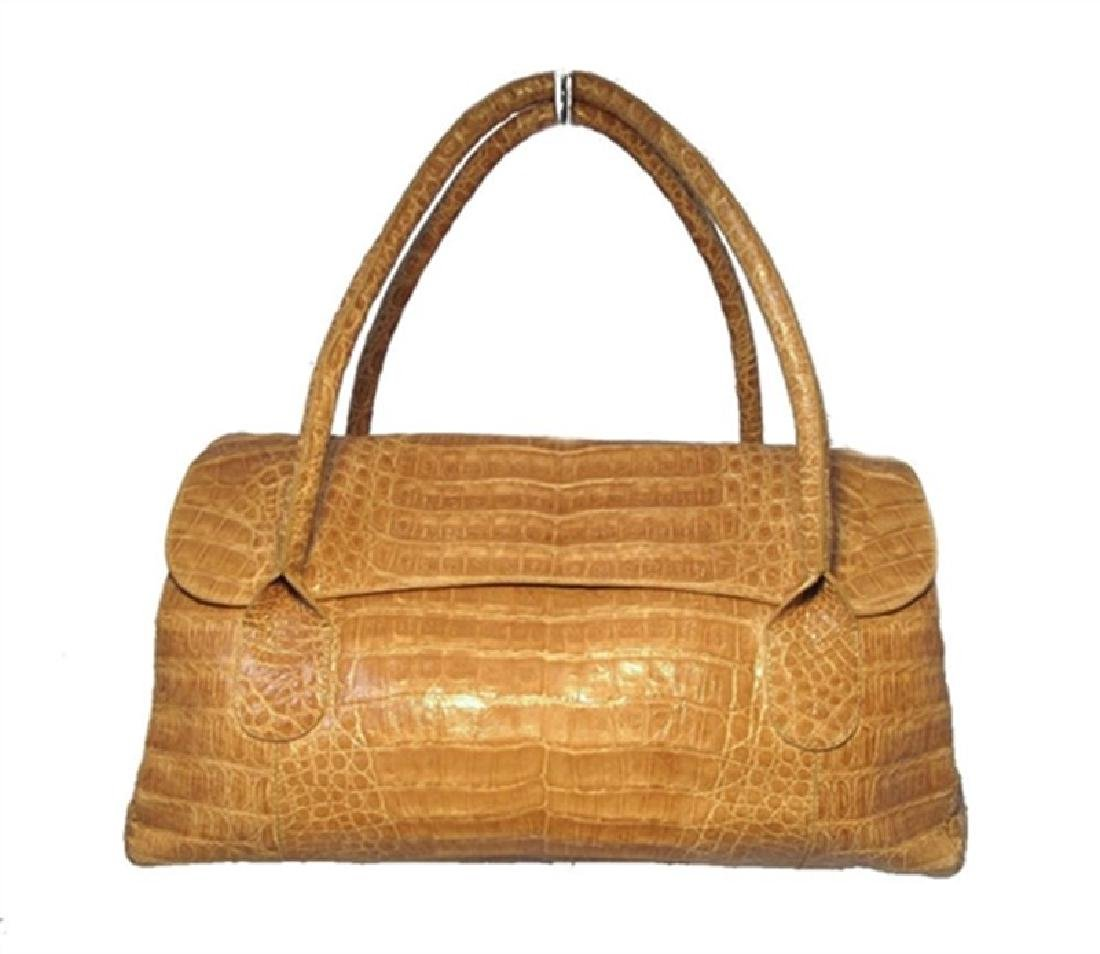 Nancy Gonzalez Tan Crocodile Handbag
