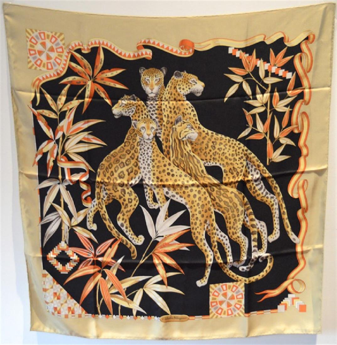 Salvatore Ferragamo Silk Leopard Print Vintage Scarf