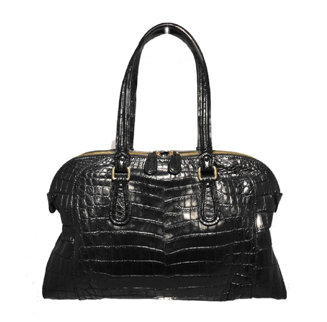 Zagliani Black Alligator Handbag