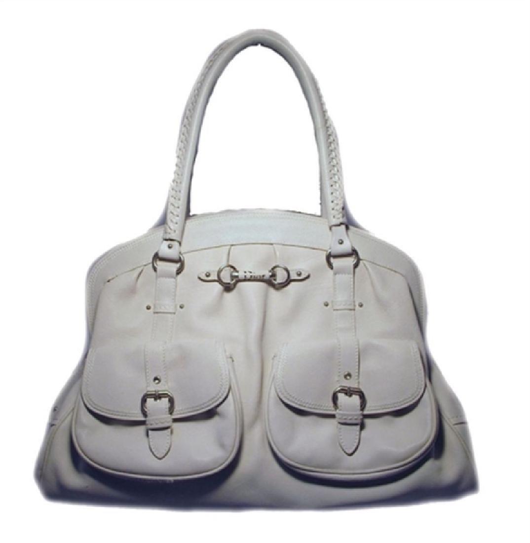 Christian Dior White Leather Shoulder Shopper Bag-