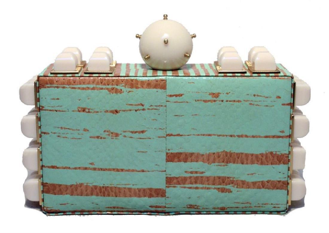 Tanya Hawkes Teal and Cream Embellished Box Clutch