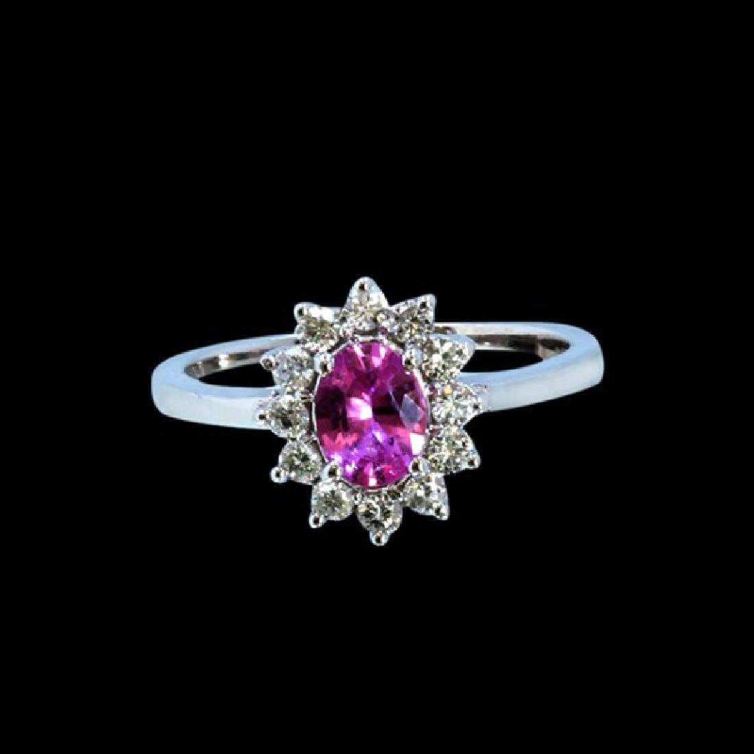 0.61CT NATURAL CEYLON PINK SAPPHIRE 14K WHITE GOLD RING