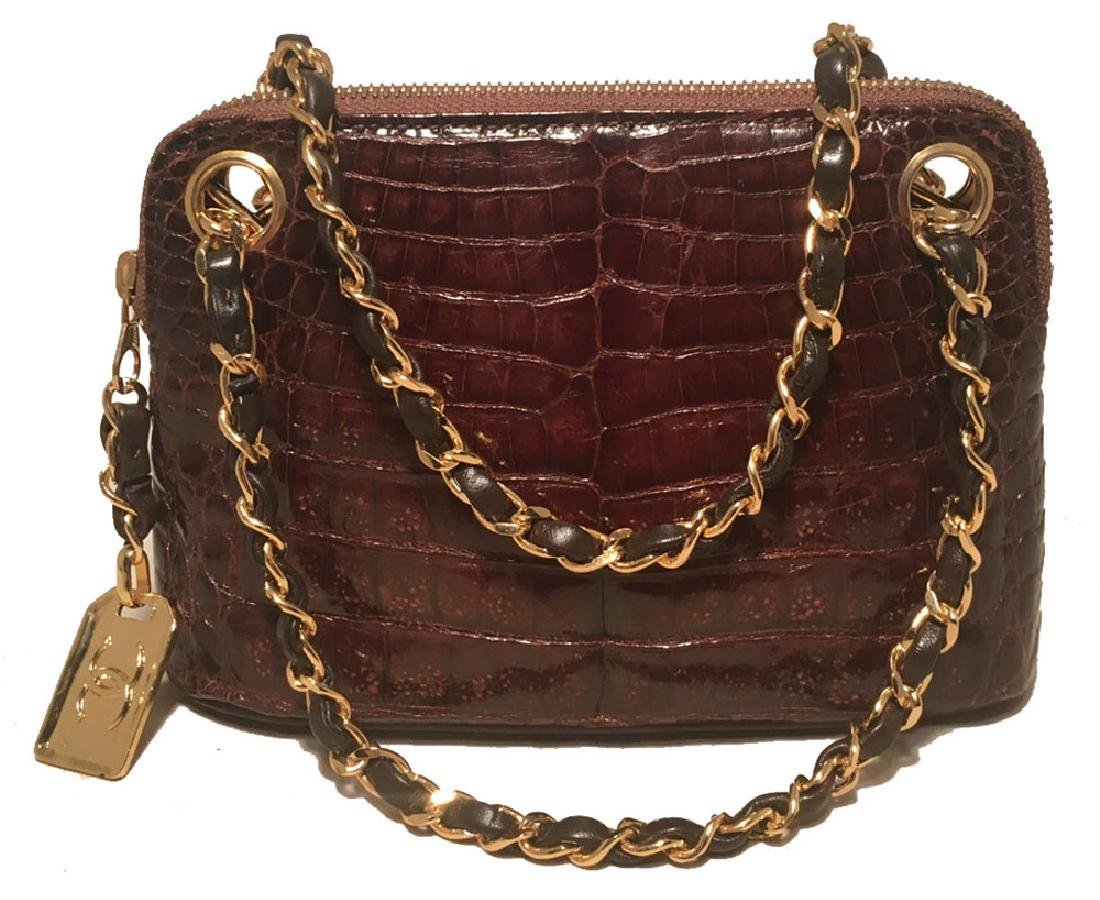 Chanel Vintage Brown Alligator Mini Handbag