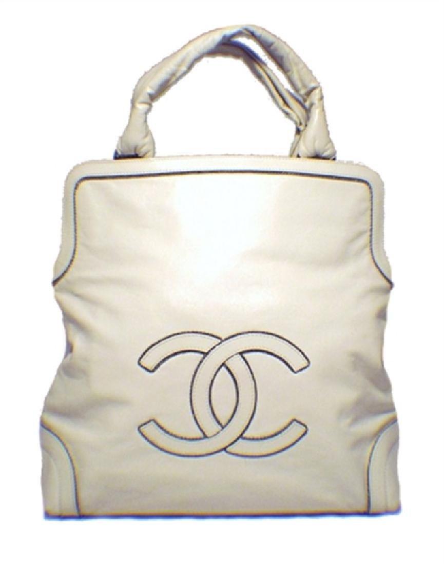 Chanel Cream Leather Handbag Tote