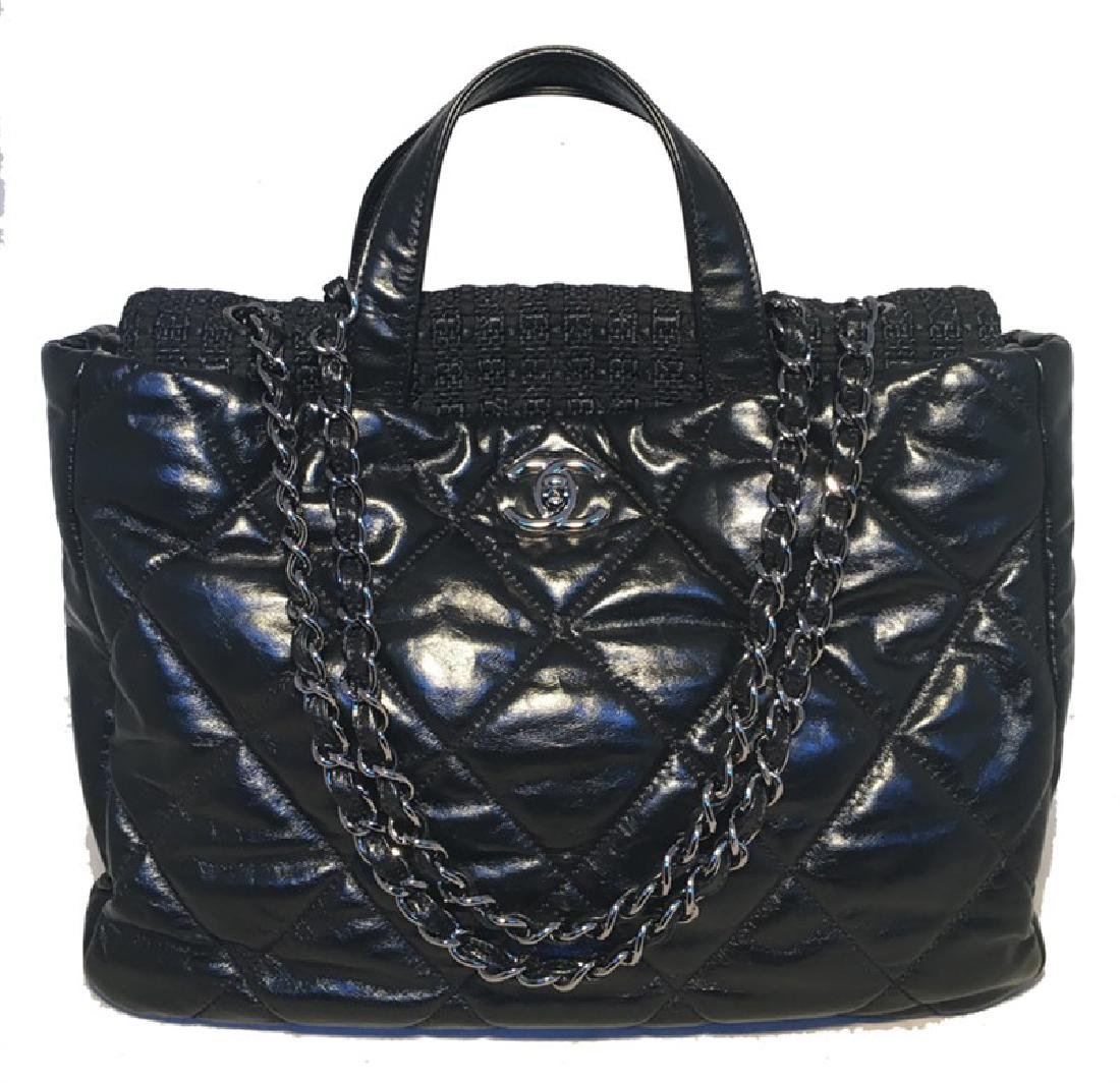 Chanel Black Leather and Tweed Shoulder Bag Tote