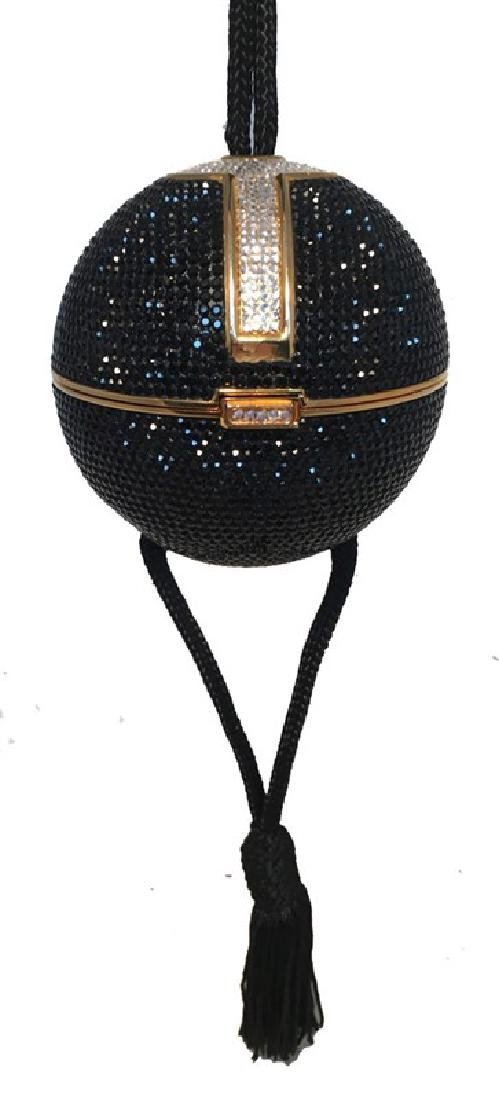 Judith Leiber Black Swarovski Crystal Ball Minaudiere