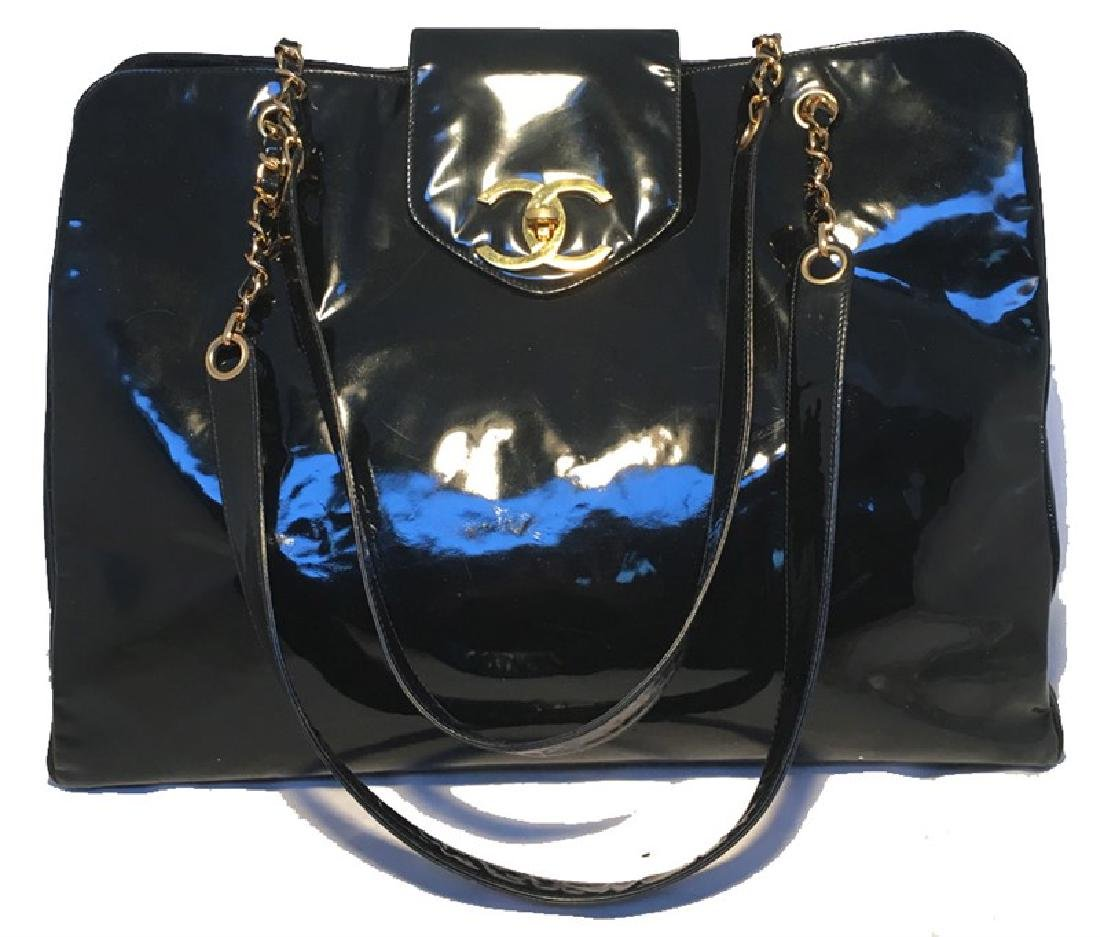 Chanel Black Patent Leather Model Overnighter Tote